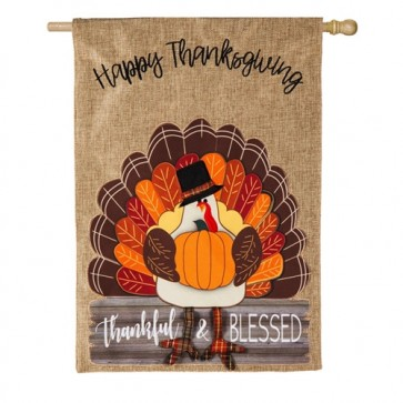 Thankful and Blessed Turkey Burlap House Flag