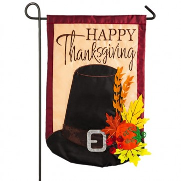 Thanksgiving Pilgrim Hat Garden Flag