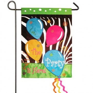 The Party is Here Garden Flag