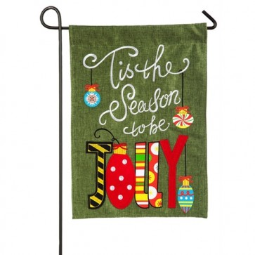 Tis the Season Burlap Garden Flag