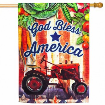 Tractor God Bless America Patriotic House Flag