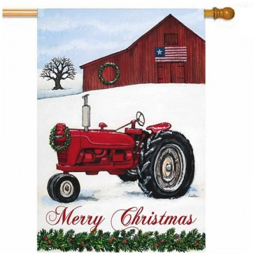 Tractor in Snow House Flag Flag