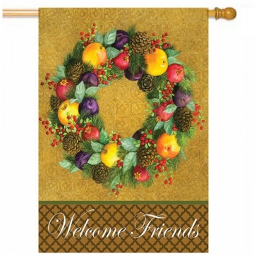 Traditional Fall  Fruit Wreath House Flag