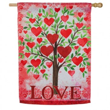 Tree of Love Valentines Day House Flag
