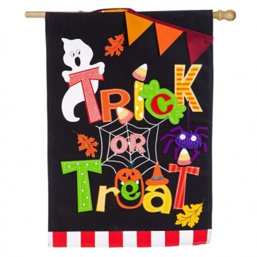 Trick or Treat Burlap Halloween House Flag