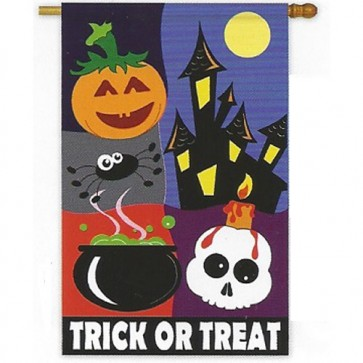 Trick or Treat Night House Flag