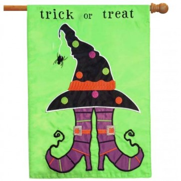 Trick or Treat Feet Halloween House Flag  (2 Different Sides)