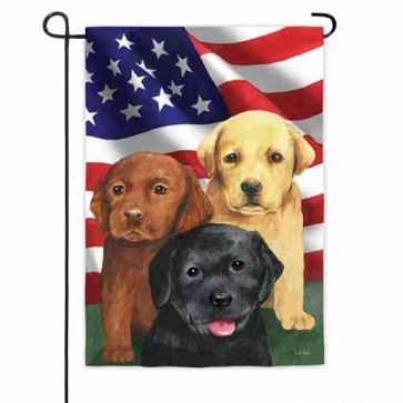 Trio of Puppies Garden  Flag