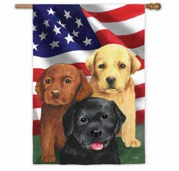Trio of Puppies House Flag