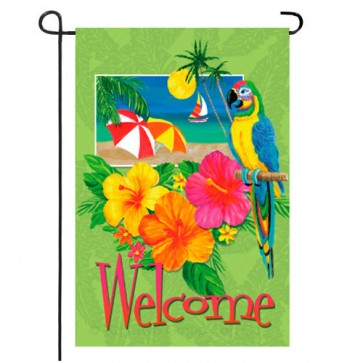 Tropical Welcome Summer Garden Flag