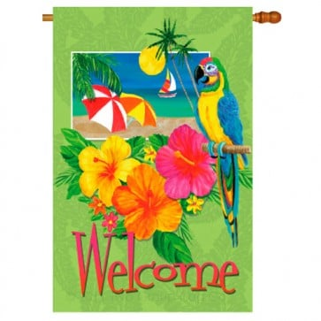 Tropical Welcome Summer House Flag
