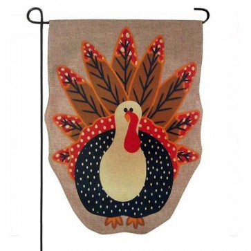 Burlap Turkey Time Garden Flag