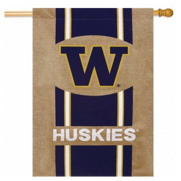 University of Washington Burlap House Flag