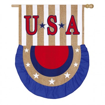 USA Bunting Burlap House Flag