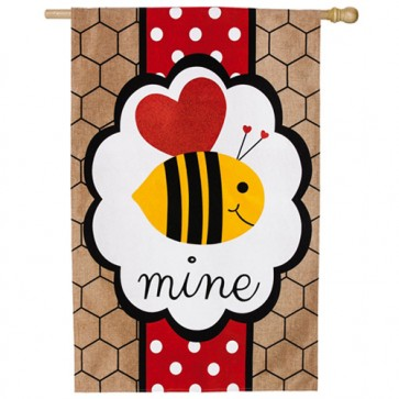 Valentine's Be Mine Burlap House Flag