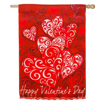 Valentine's Day Scroll House Flag