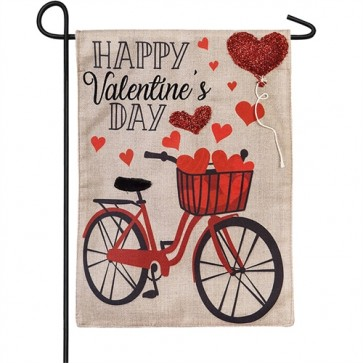 Valentine's Day Bicycle Garden Flag