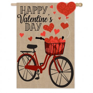 Valentine's Day Bicycle House Flag