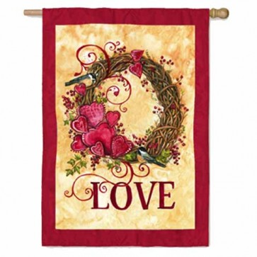 Valentines Wreath House Flag
