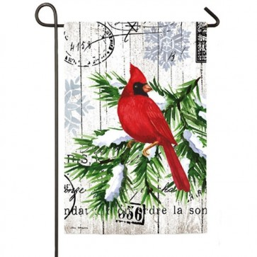 Watercolor Winter Cardinal Garden Flag