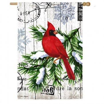 Watercolor Winter Cardinal House Flag