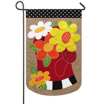 Water Can Flowers Burlap Garden Flag