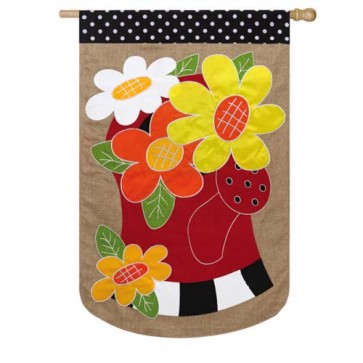 Water Can Flowers Burlap House Flag