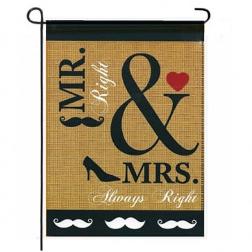 Wedding Burlap Garden Flag