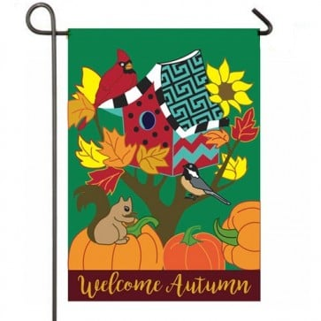 Welcome Autumn Birdhouse Garden Flag