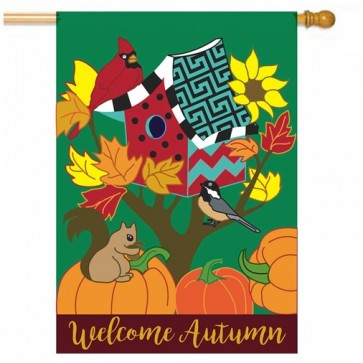 Welcome Autumn Birdhouse House Flag