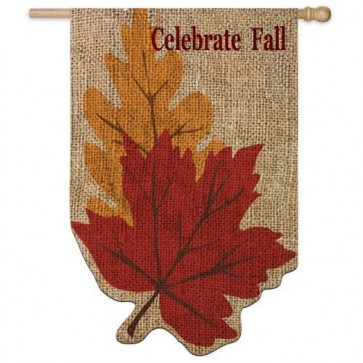 Burlap Welcome Fall Leaves House flag