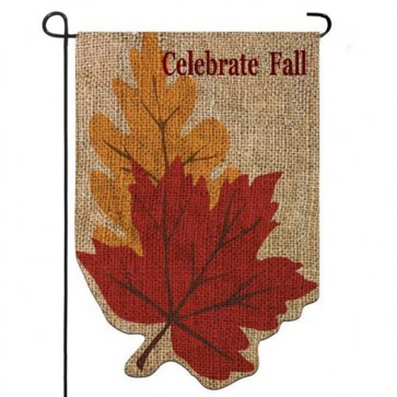 Burlap Welcome Fall Leaves Garden Flag (Burlap)