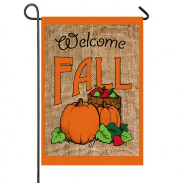 Welcome Fall Pumpkins Burlap Garden Flag