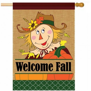 Welcome Fall Burlap House Flag