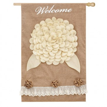 Welcome Floral Burlap House Flag