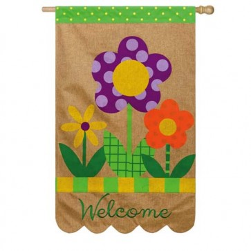 Burlap Welcome Flowers House Flag