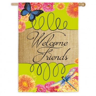 Welcome Friends House Flag