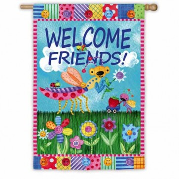 Welcome Garden Friends House Flag