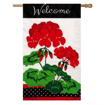 Welcome Geranium House Flag