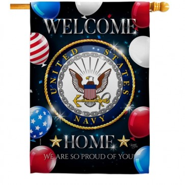 Welcome Home Navy House Flag