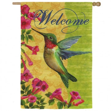 Welcome Hummingbird House Flag