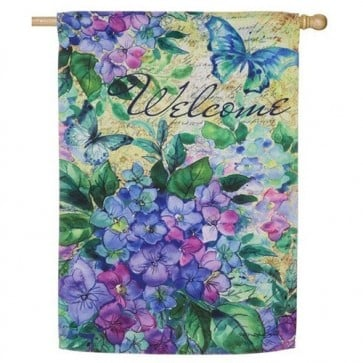 Welcome Hydrangea House Flag