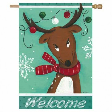 Welcome Reindeer House Flag