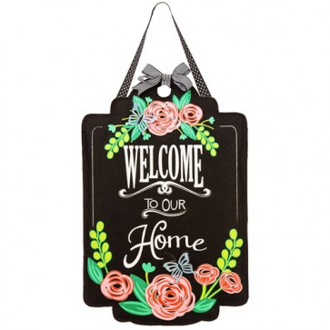 Welcome Roses Burlap Door Hanger