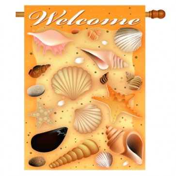 Welcome Shells Summer House Flag