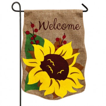 Welcome Sunflower Burlap Garden Flag