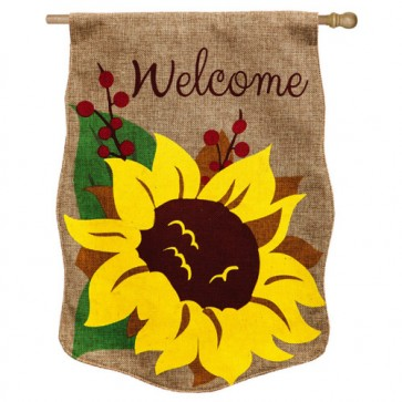 Welcome Sunflower Burlap House Flag