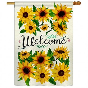 Welcome Sunflowers Bouquet House Flag