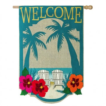 Welcome to Paradise Burlap House Flag