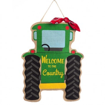 Welcome Tractor Burlap Door Hanger